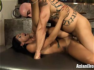 tanned fitness model rails studs face then gets plowed