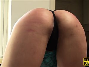 ball-gagged english slave spanked and throatfucked