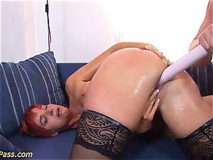 well-lubed lush milf gets buttfuck pumped