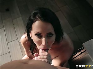 horny youth screws his splendid humungous buxom stepmother Reagan Foxx in the bathroom room