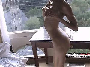 lean french Montreal pornography starlet flashes toned fit body