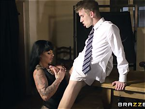 Lesson of romp education in experience with huge-chested teacher Kerry Louise
