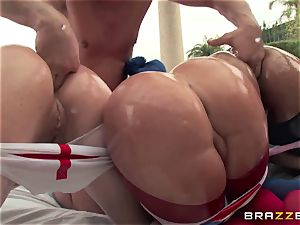 assfuck sex with trio nasty immense booty supersluts Krissy Lynn, Nikki Delano and Rose Monroe