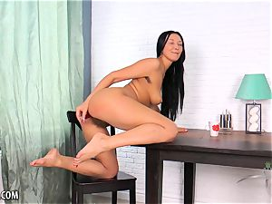 unshaved Russian masturbates with a fucktoy