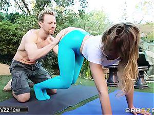 edible blonde Mia Malkova teaches with her coach outdoor