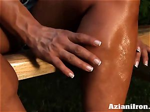 stellar bulky Amber unwraps down and paws her large clit