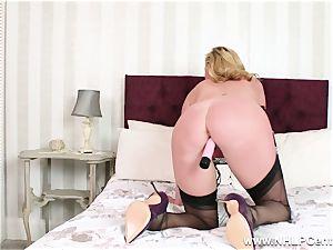 insane cougar fucktoys moist cunny in nylons high high-heeled slippers garters