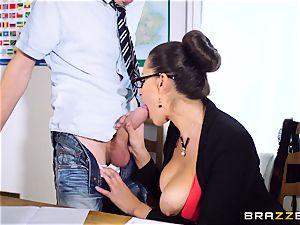 instructor sensual Jane torn up across a classroom desk