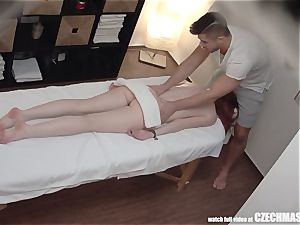 redhead nubile has strong Unprotected lovemaking with masseur