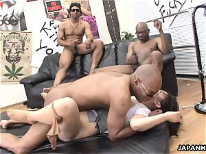 trio black men wreck the asian sluts cunt