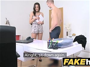 female Agent slim agent loves being caked in spunk