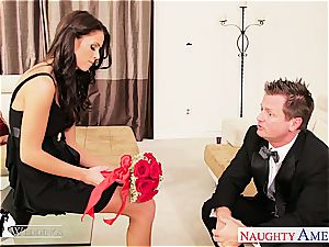 chesty brown-haired Whitney Westgate riding wood at wedding