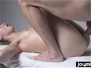 Joymii super-hot light-haired gets decorated in spunk after her massage