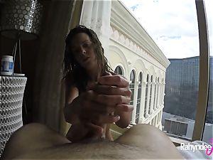 Rahyndee pleasuring man meat in Las Vegas motel point of view