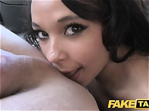 faux taxi dark haired fellates romps and takes it in the arse