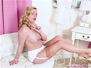 super-naughty platinum-blonde milf frigs succulent vag in nylons high-heeled slippers