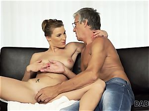 DADDY4K. dame left with mouthhole of jizm after being banged by dad